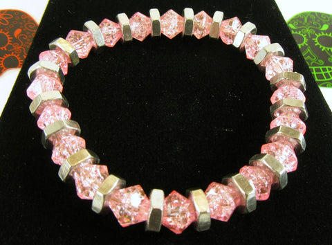 light pink crackle glass bicone bead bracelet