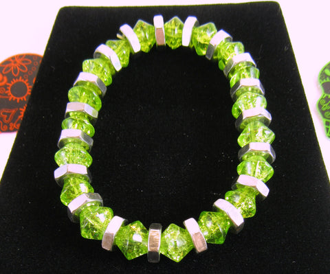 bright green beaded handmade stretch bracelet Pretty In Shop