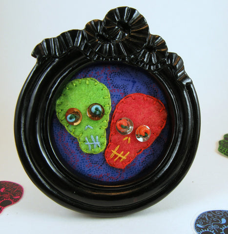 handmade framed felt skull couple Pretty In Skulls Collection