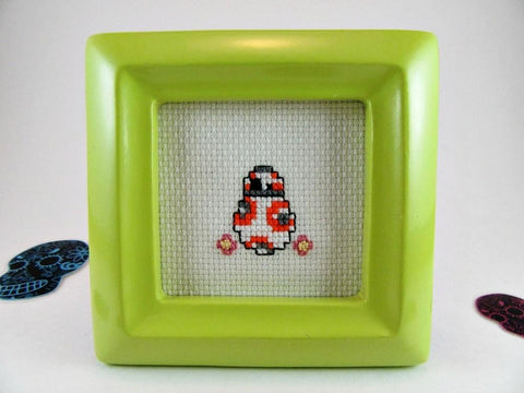 cross stitch framed BB8 mini art