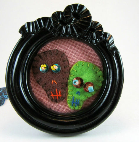 rose pink cute felt skull duo hand embroidered mini frame