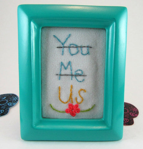 you me us floral mini framed hand embroidery