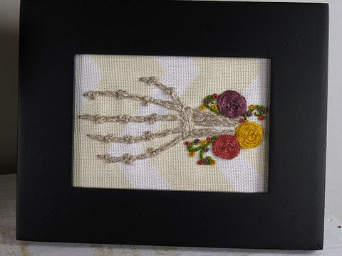 skeleton hand floral framed embroidery