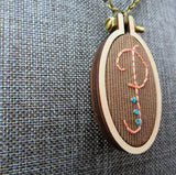 hand embroidered P initial necklace