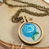 turquoise rose embroidered necklace