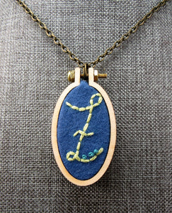 embroidered Z initial necklace
