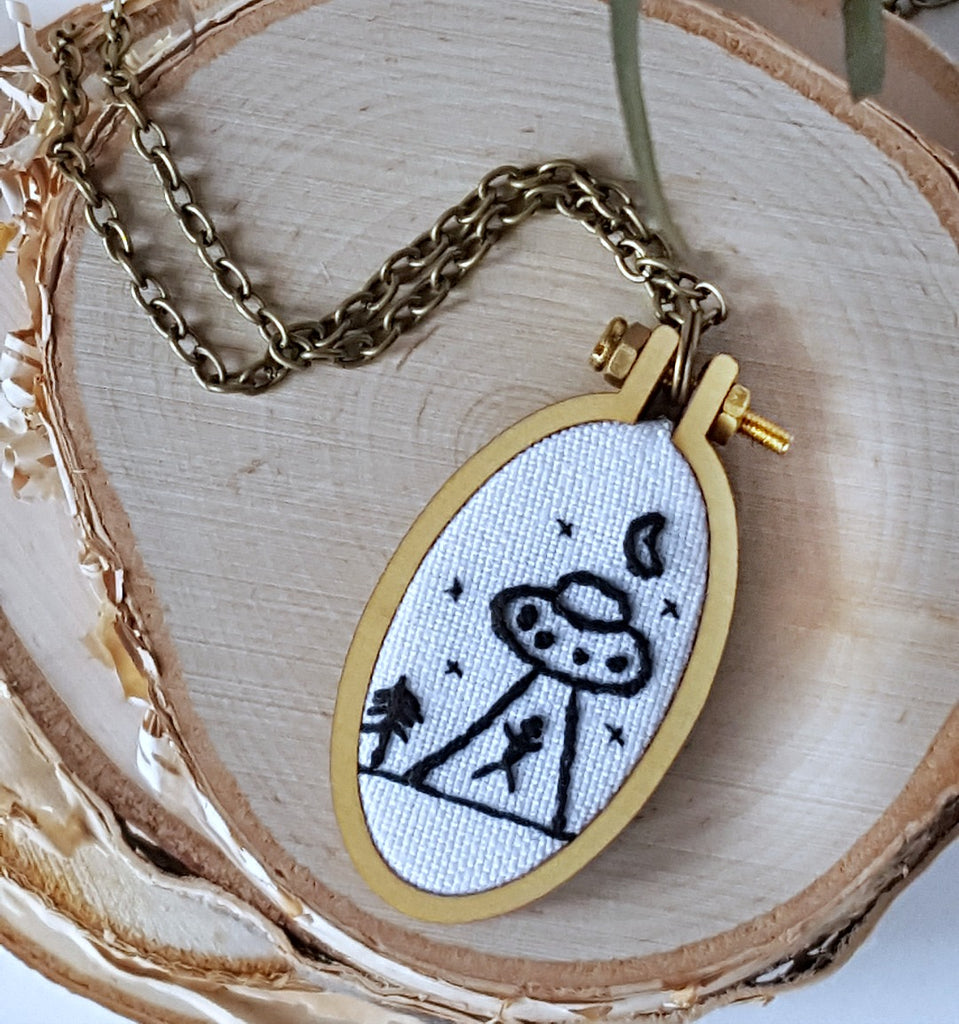 alien abduction embroidered necklace