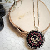 hand embroidered skull and roses antique silver necklace pin