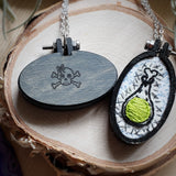 pretty in skulls collection hand embroidered hand painted necklaces