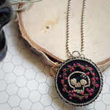 antique silver hand embroidered skull & roses pin necklace