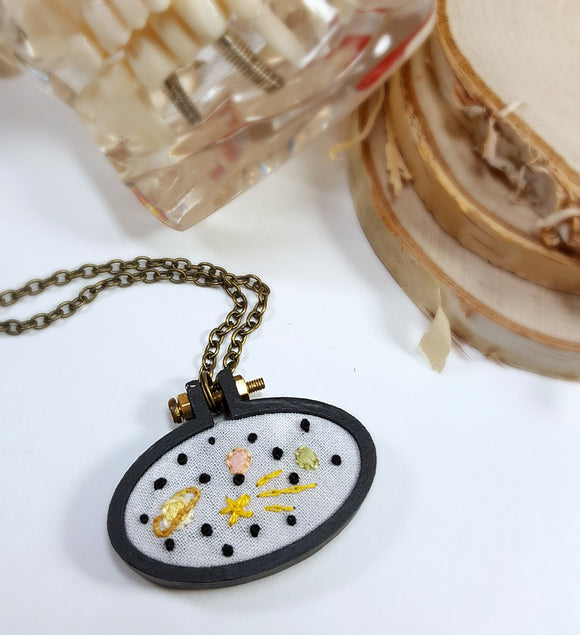 hand embroidered hand painted stars and planets necklace