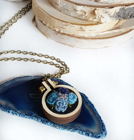 dark blue hand embroidered rose necklace