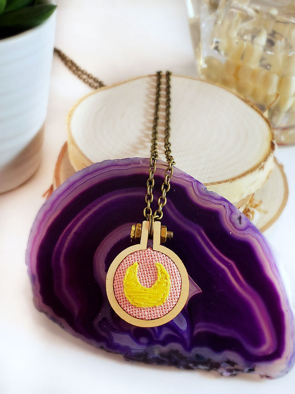 Sailor Moon hand embroidered crescent moon necklace