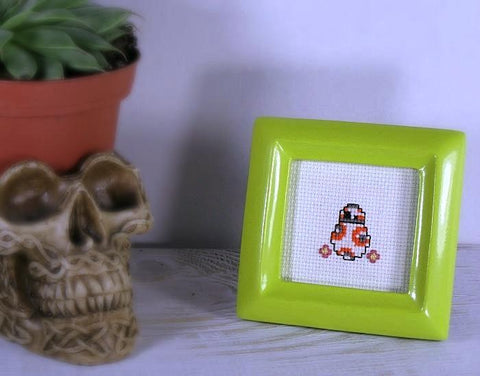 bb8 cross stitch bright green framed art