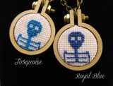 royal blue cameo skeleton cross stitch necklace