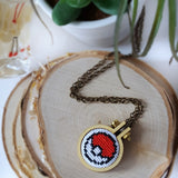 cross stitch pokemon pokeball jewelry