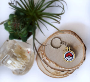 cross stitch pokeball keychain