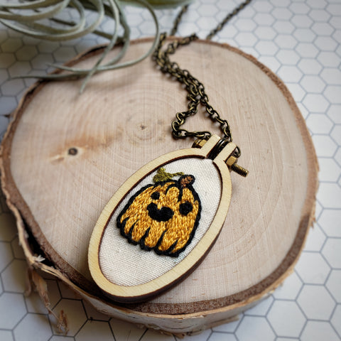 hand embroidered autumn necklace