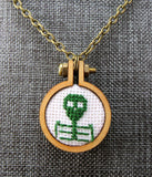dark green cross stitch skeleton necklace Pretty In Skulls Collection