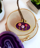 pink and purple hand embroidered rosette floral jewelry
