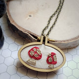 toadstool embroidered pendant