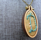 hand embroidered modern monogram light blue D initial necklace Pretty In Shop