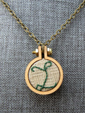 embroidered small L initial necklace