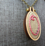 O embroidered initial necklace