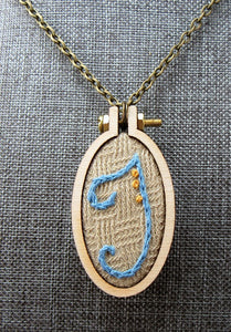 embroidered T initial necklace