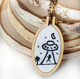 embroidered alien abduction necklace