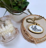 hand embroidered deer antler necklace