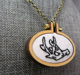 deer antler hand embroidered necklace