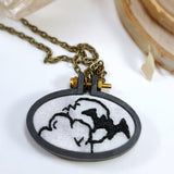embroidered bat full moon necklace