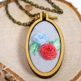 double rose hand embroidered jewelry