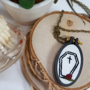 embroidered casket necklace