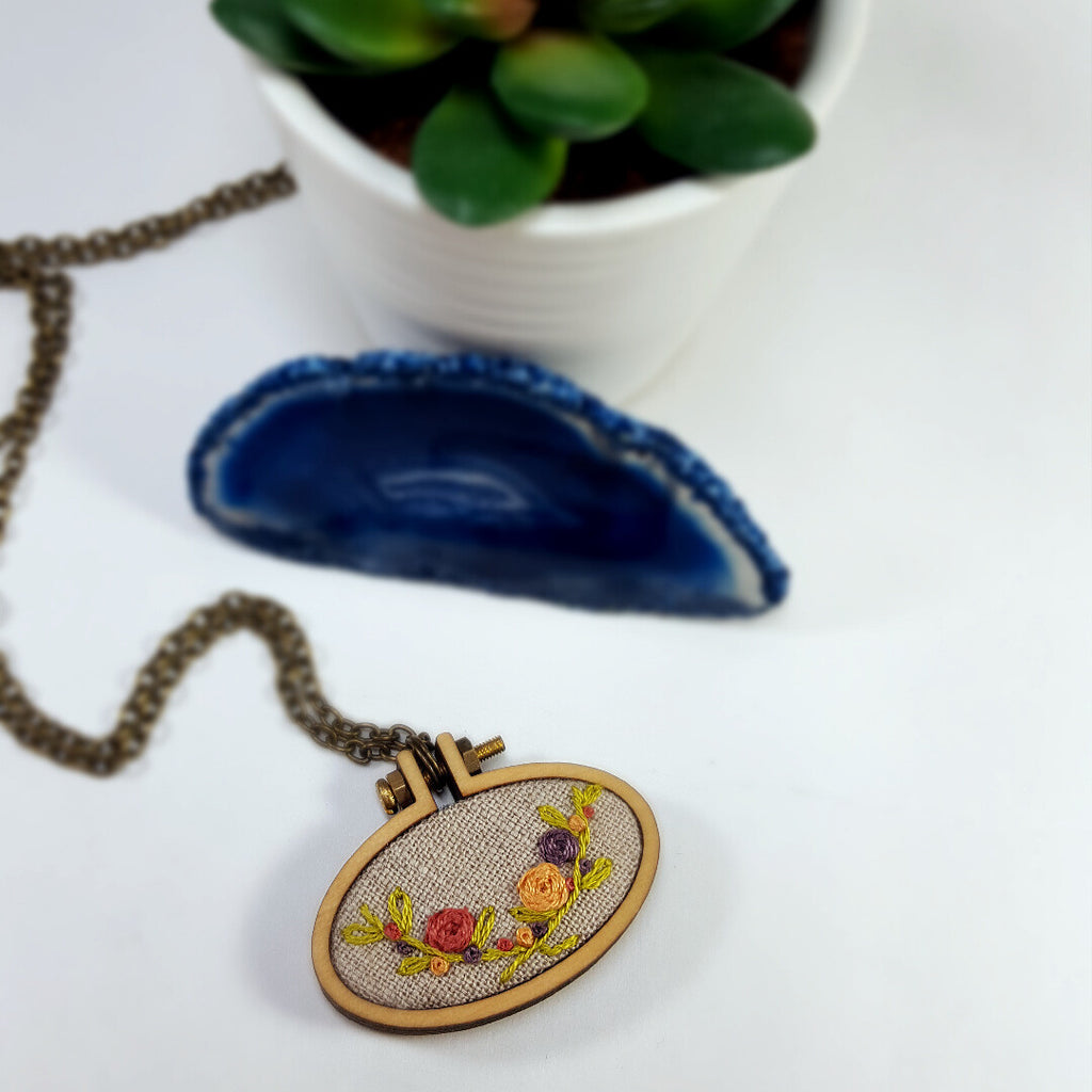 rustic country floral embroidered necklace