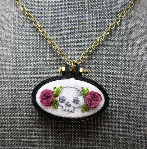 floral grey skull embroidered necklace
