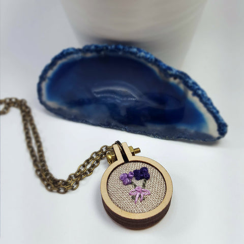 purple flower stitched necklace