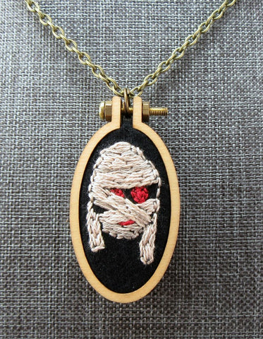 hand embroidered Mummy necklace