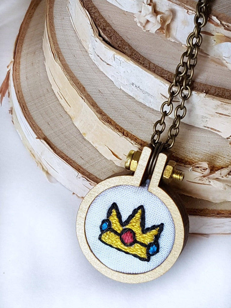 hand embroidered princess peach crown necklace