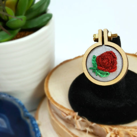 hand embroidered red rose ring