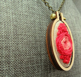 red pink spiral variation necklace
