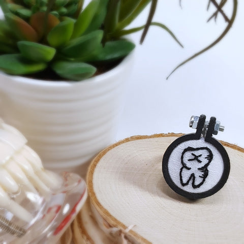 hand embroidered black tooth ring