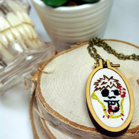 embroidered hungry Zombie necklace