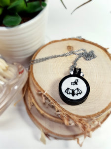 flying bats embroidered necklace
