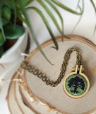 green tree cross stitch mana magic the gathering necklace