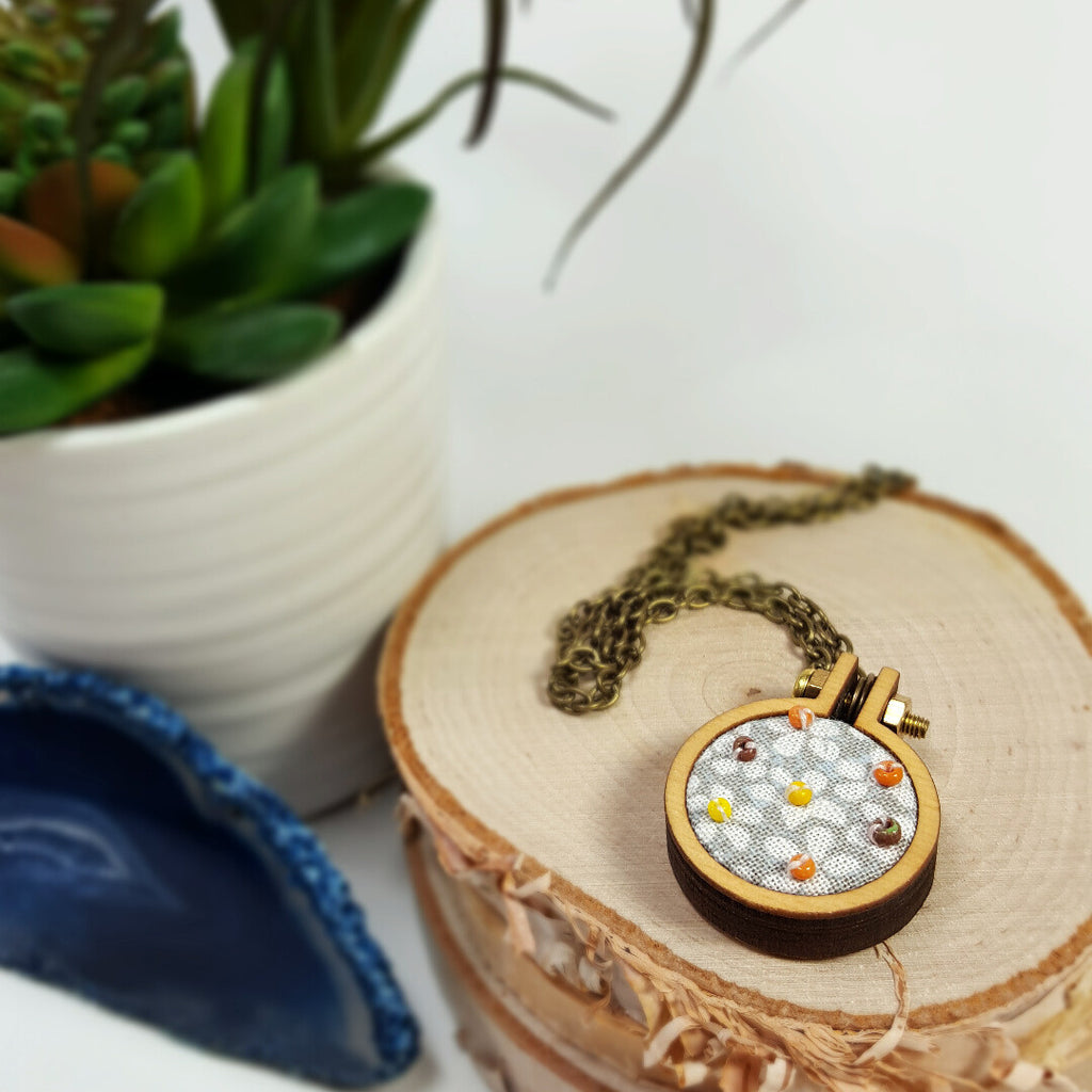 hand beaded autumn floral necklace