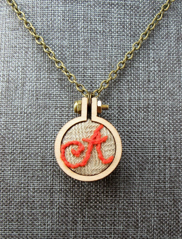 red script initial A necklace