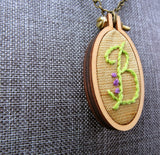 hand embroidered B initial monogram pendant