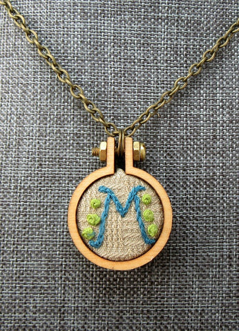 M embroidered small initial necklace